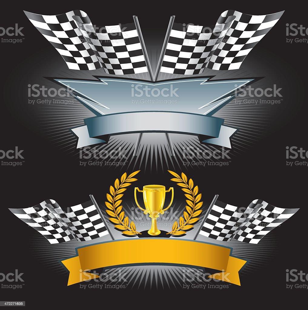 Checker Flag Winner Icons vector art illustration