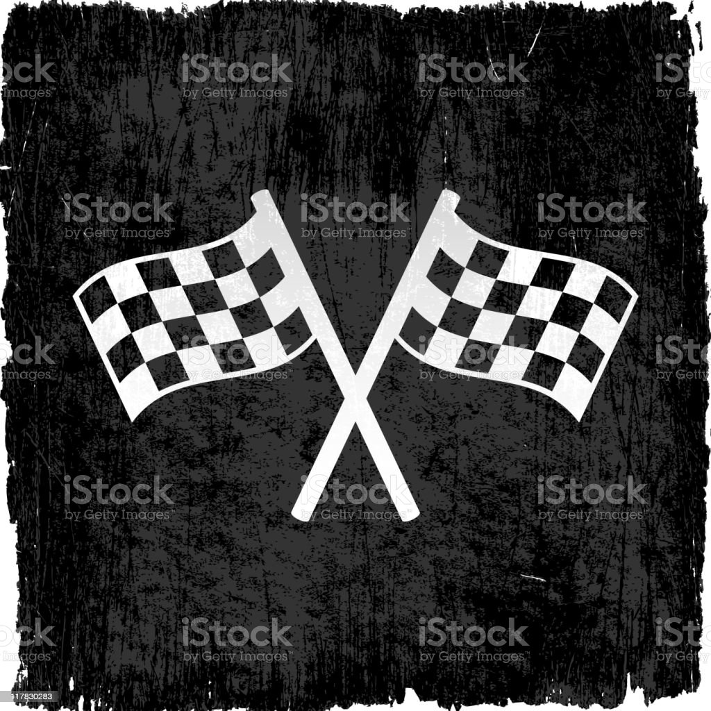 checker flags on royalty free vector Background vector art illustration