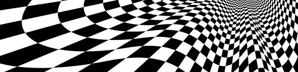 checker pattern mesh in 3d dimensional perspective vector abstract background, formula 1 race flag texture, black and white checkered illustration. - formula 1 stock illustrations