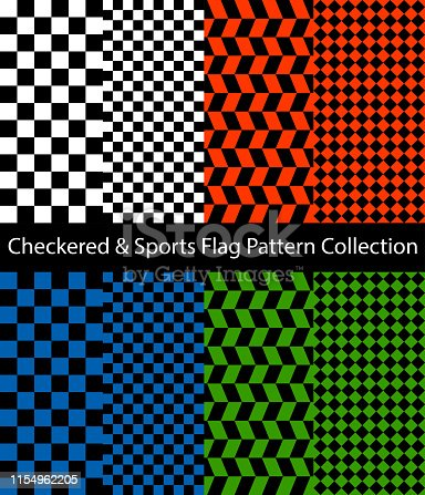 Checkered and sport flag pattern collection. Set of monochrome, red, blue and green color checkerboards.