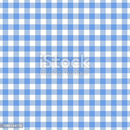istock Checkered blue tablecloth seamless pattern. Gingham plaid design background. 1080144176