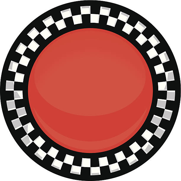 checkered button vector art illustration