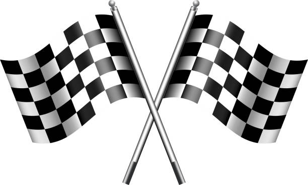 checkered, chequered flags finish flag - finnish flag stock illustrations, clip art, cartoons, & icons