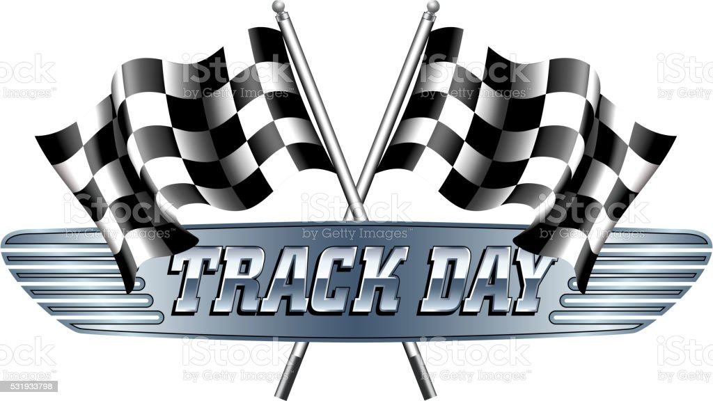 TRACK DAY Checkered, Chequered Flags Motor Racing vector art illustration