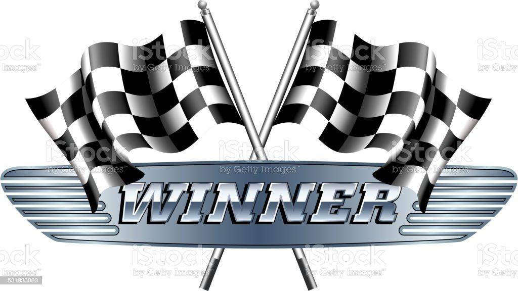 WINNER Checkered, Chequered Flags Motor Racing vector art illustration