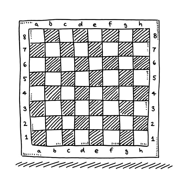 Checkered Chess Board Symbol Drawing Hand-drawn vector drawing of a Checkered Chess Board Symbol. Black-and-White sketch on a transparent background (.eps-file). Included files are EPS (v10) and Hi-Res JPG. game stock illustrations