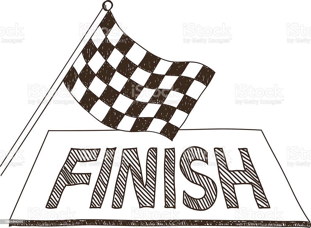 Checkered flag and finish drawing royalty-free stock vector art