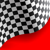 Checkered flag curve on red background design sport race championship background vector illustration.
