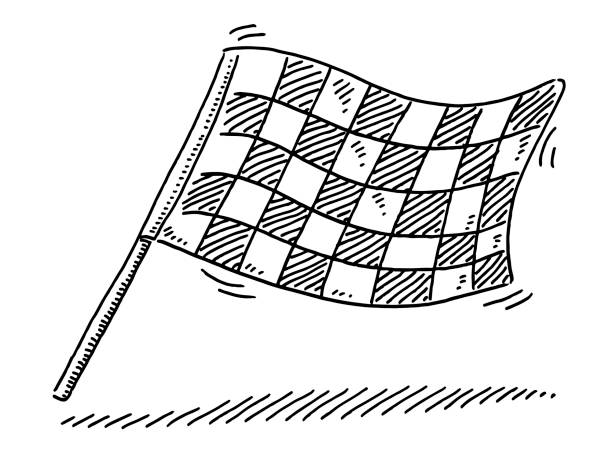 Checkered Flag Drawing Hand-drawn vector drawing of a Checkered Flag. Black-and-White sketch on a transparent background (.eps-file). Included files are EPS (v10) and Hi-Res JPG. motor sport stock illustrations