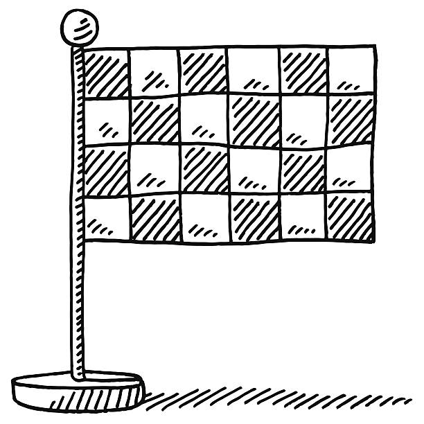 Checkered Flag Finish Symbol Drawing Hand-drawn vector drawing of a Checkered Flag Finish Symbol. Black-and-White sketch on a transparent background (.eps-file). Included files are EPS (v10) and Hi-Res JPG. motor sport stock illustrations