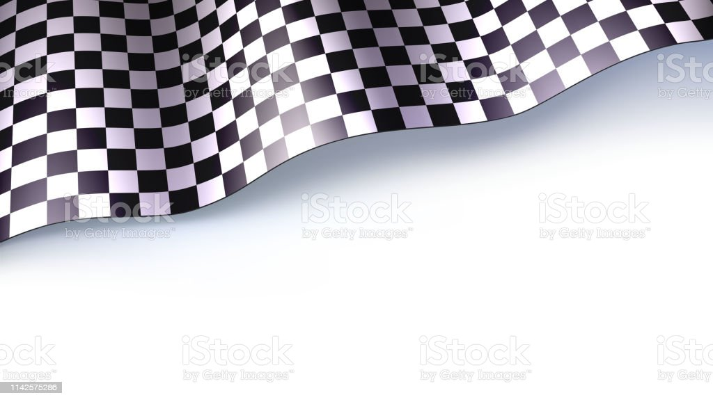 Checkered flag for car race or motorsport rally isolated on white...