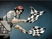Grunge vector artwork of a Race Official, who finishes a race with Checkered Flags. The colors in the .eps-file are ready for print (CMYK). Transparencies used. All objects are on separate layers. Included files: EPS (v10) and Hi-Res JPG.