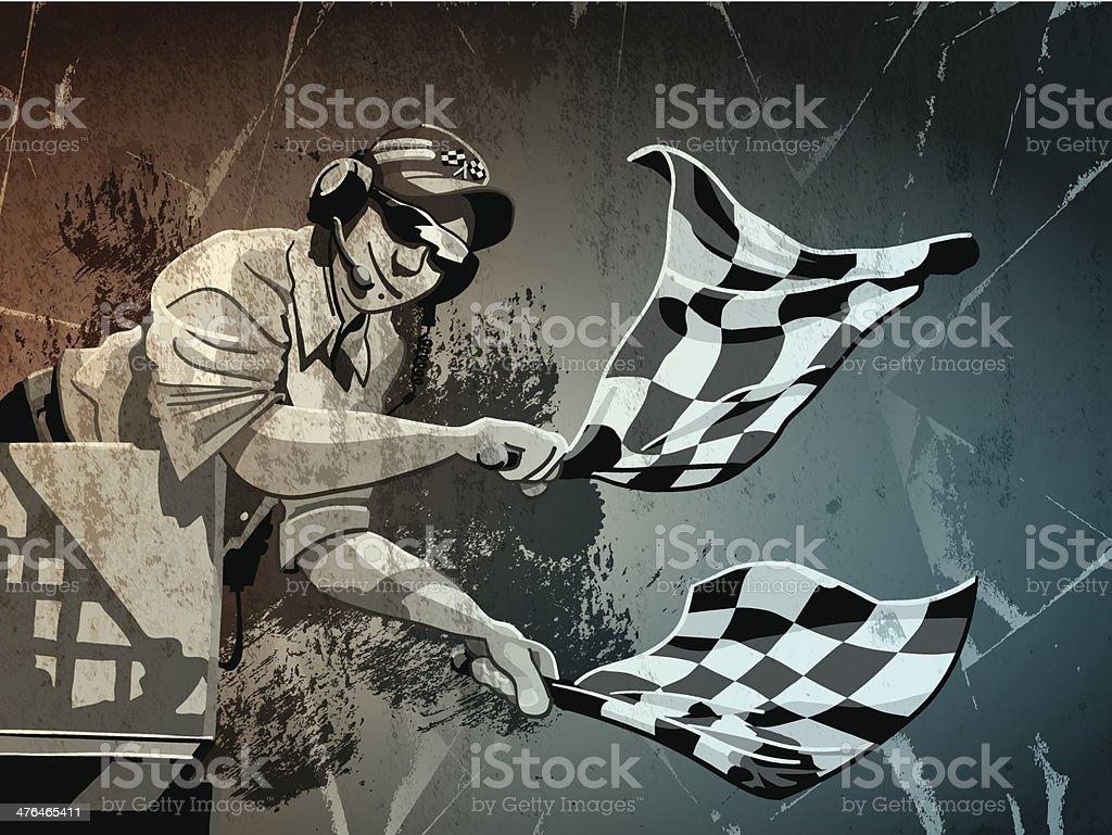 Checkered Flag Grunge Monochrome vector art illustration
