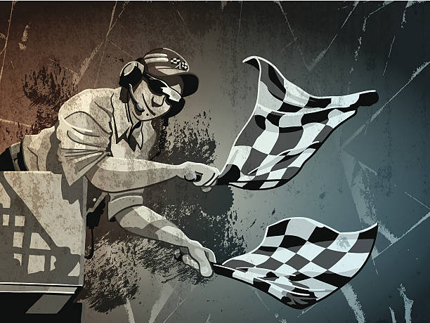 Checkered Flag Grunge Monochrome Digital grunge vector artwork of a Race Official, who finishes a race with Checkered Flags. The colors in the .eps-file are ready for print (CMYK). Transparencies used. All objects are on separate layers. Included files: EPS (v10) and Hi-Res JPG. indy racing league indycar series stock illustrations