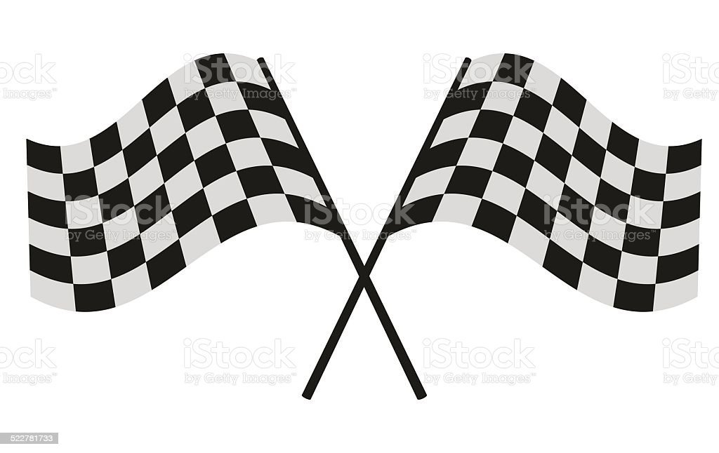 checkered flag racing vector art illustration