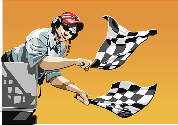 Checkered Flag Illustration of a race official waving the checkered flags to finish a race. The background is on a separate layer, so you can use the illustration on your own background. The colors in the .eps and .ai-files are ready for print (CMYK). Included files: EPS (v8), AI (CS2) and Hi-Res JPG. indy racing league indycar series stock illustrations