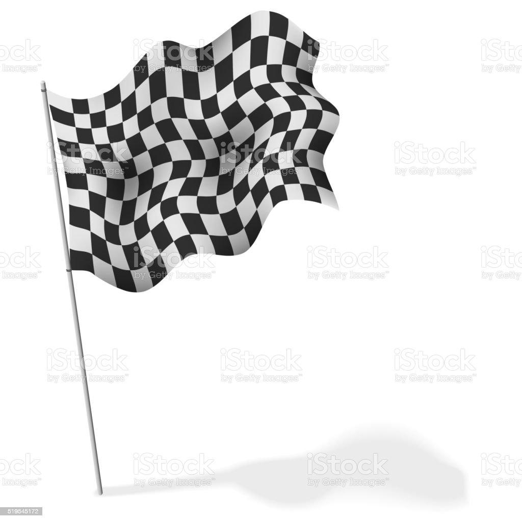 Checkered flag waving isolated vector art illustration