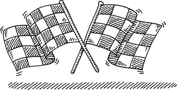 Checkered Flags Crossed Drawing Hand-drawn vector drawing of a Pair of Checkered Flags Crossed. Black-and-White sketch on a transparent background (.eps-file). Included files are EPS (v10) and Hi-Res JPG. motor sport stock illustrations