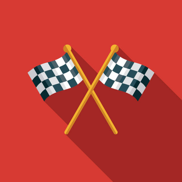 checkered flags flat design sports icon with side shadow - start stock illustrations