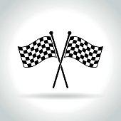 checkered flags icon on white background