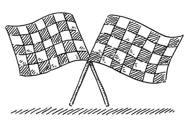 Checkered Flags Racing Symbol Drawing Hand-drawn vector drawing of two Checkered Flags, Racing Symbol. Black-and-White sketch on a transparent background (.eps-file). Included files are EPS (v10) and Hi-Res JPG. motor sport stock illustrations