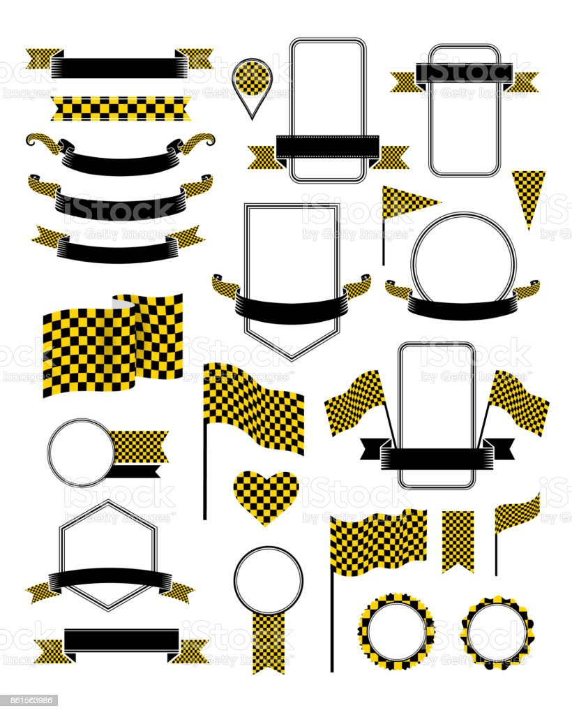 Checkered flags set. Racing decoration elements with black and yellow flags. vector art illustration