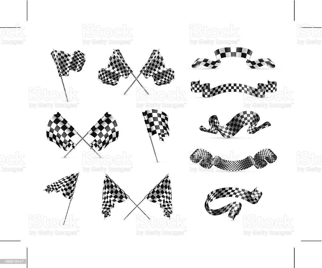 Checkered flags, set vector art illustration