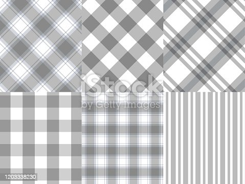 istock Checkered ,Gingham,Stripe gray and white pattern background,vector illustration 1203338230