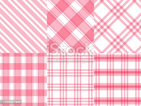 istock Checkered ,Gingham,Stripe pink and white pattern background,vector illustration 1203337945