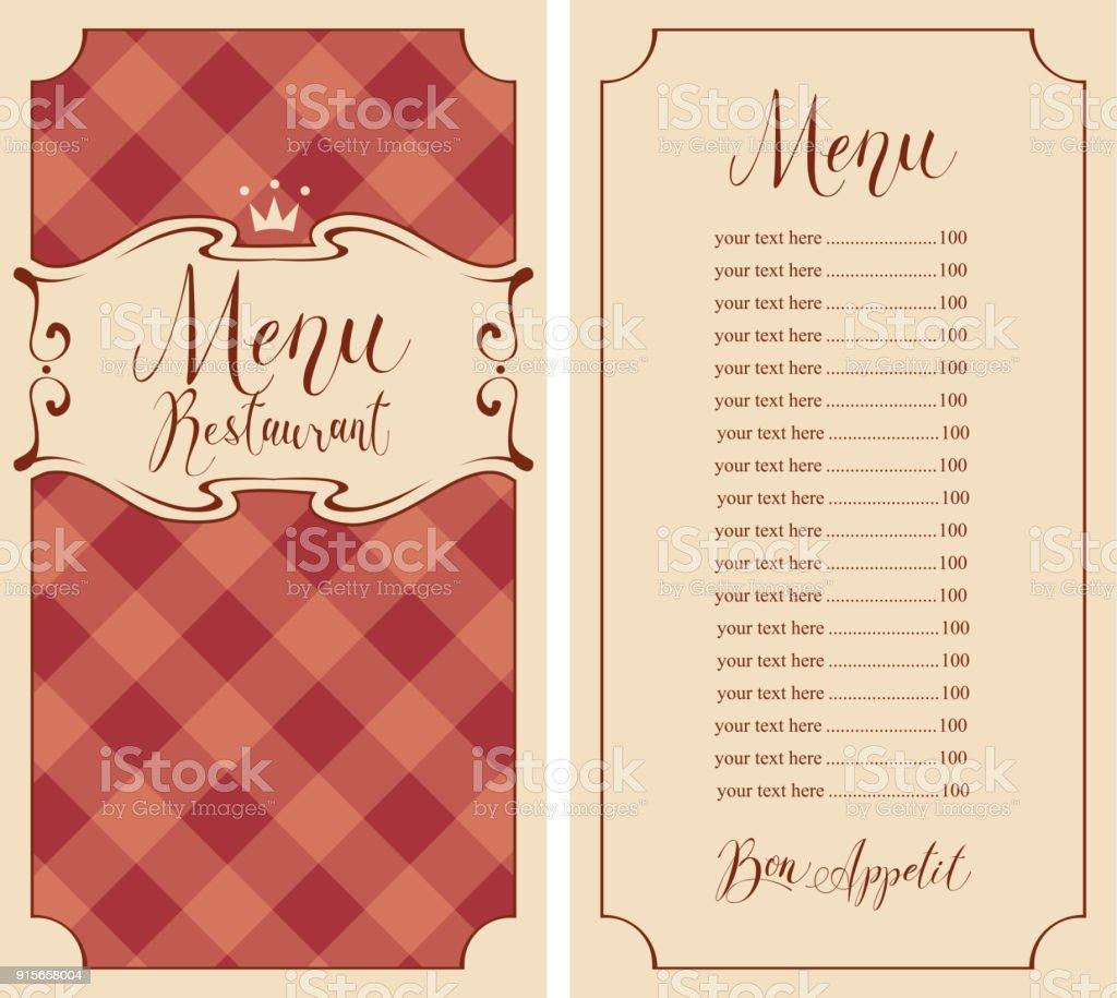 Cuadros Menú Para El Restaurante Con El Precio Y La Corona - Arte ...