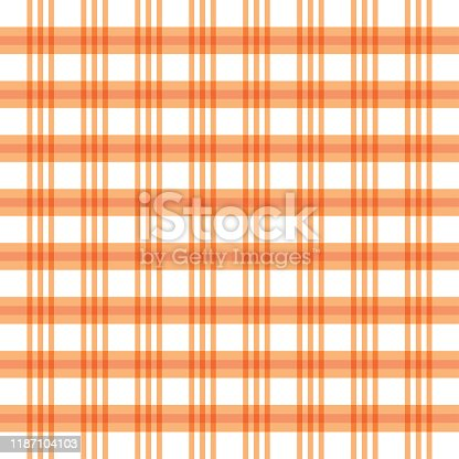istock Checkered orange and white check pattern background,vector illustration,Gingham 1187104103