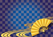 Checkered pattern and a fan. Japanese style.