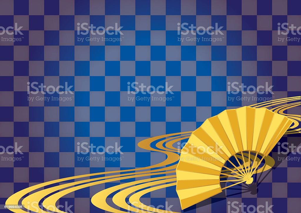 Checkered pattern and a fan. Japanese style. vector art illustration