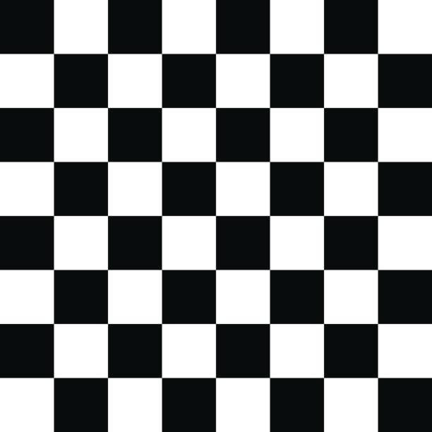 Checkered Pattern Black and White Chess Board, Tiled Floor, Chess, Flooring, Leisure Games monochrome stock illustrations