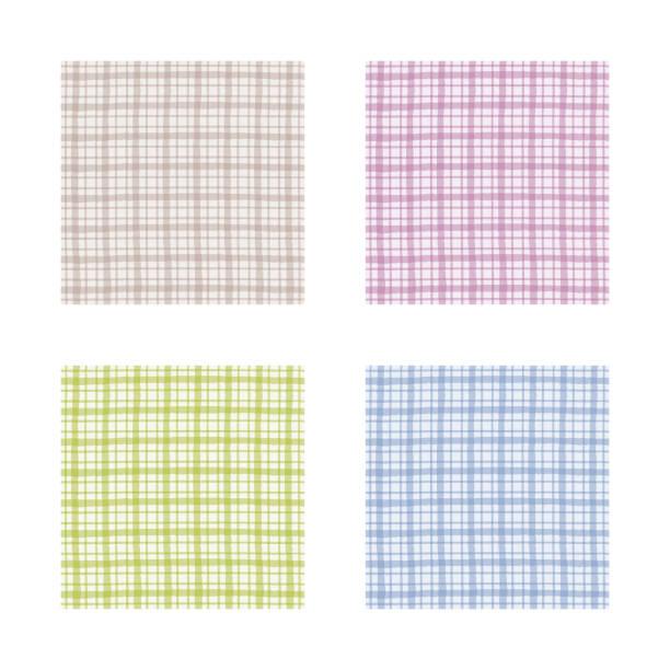 市松模様セット、茶色、紫色、緑および青のギンガム チェック パターン - ランチョンマット点のイラスト素材/クリップアート素材/マンガ素材/アイコン素材
