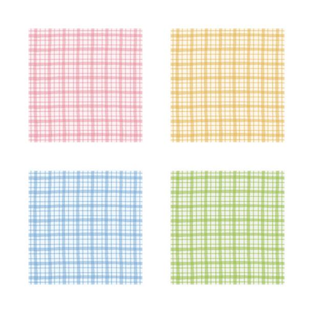 市松模様セット、ピンク、オレンジ、緑と青のギンガム チェック パターン - ランチョンマット点のイラスト素材/クリップアート素材/マンガ素材/アイコン素材
