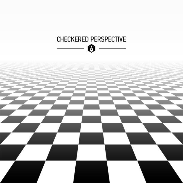 checkered perspective background - checked pattern stock illustrations