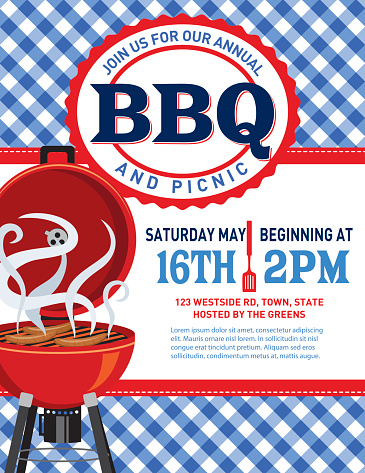 Checkered Plaid Tablecloth BBQ Invitation Template