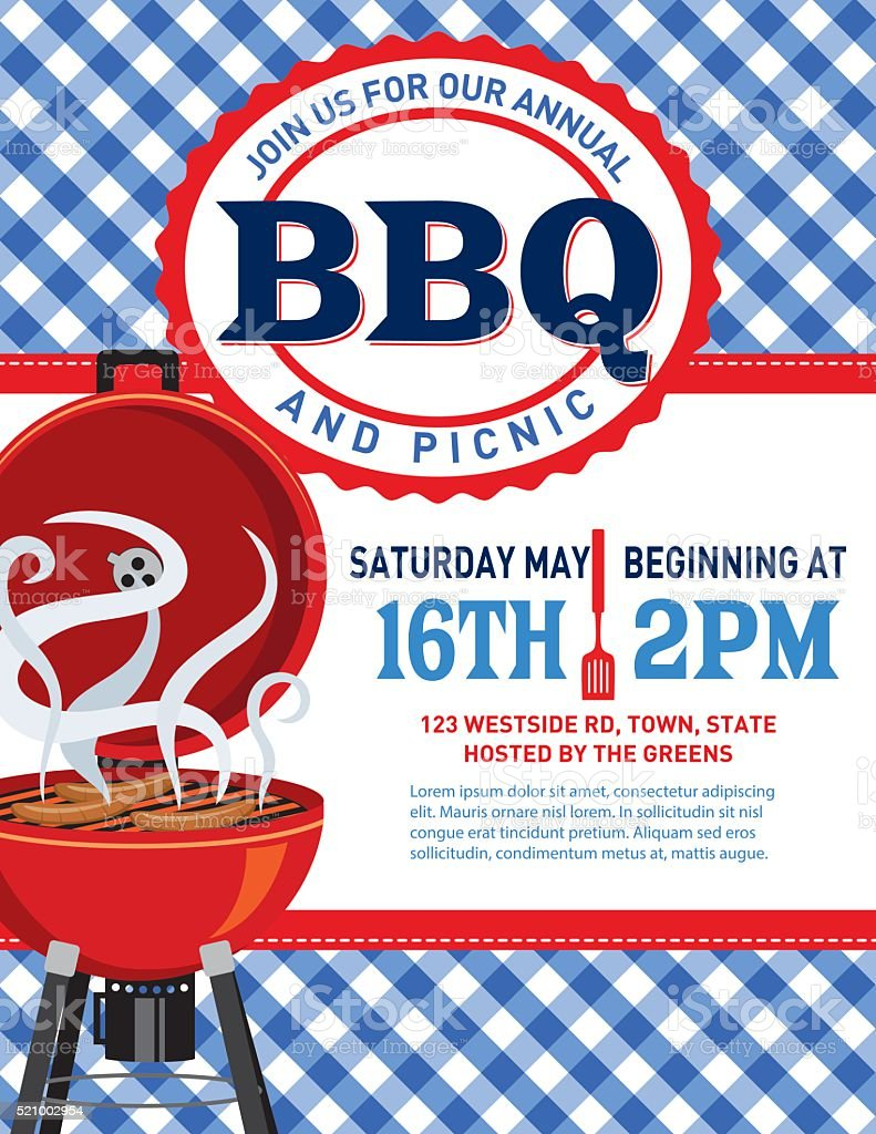 Checkered Plaid Tablecloth BBQ Invitation Template​​vectorkunst illustratie