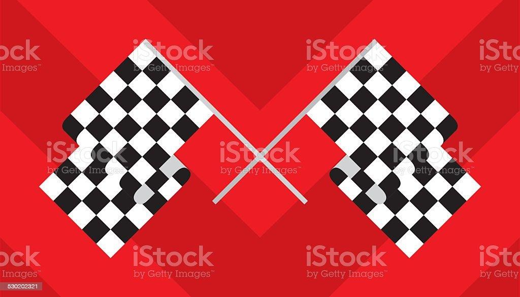Checkered Race Flag Crossed vector art illustration