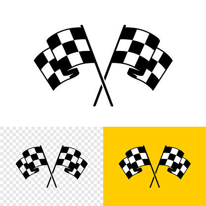 Checkered race flags crossed. Two start or finish flags in a cross. Automotive or sport attribute.