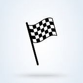 istock Checkered racing flag sign icon or logo. chequered flag concept illustration. 1291791877