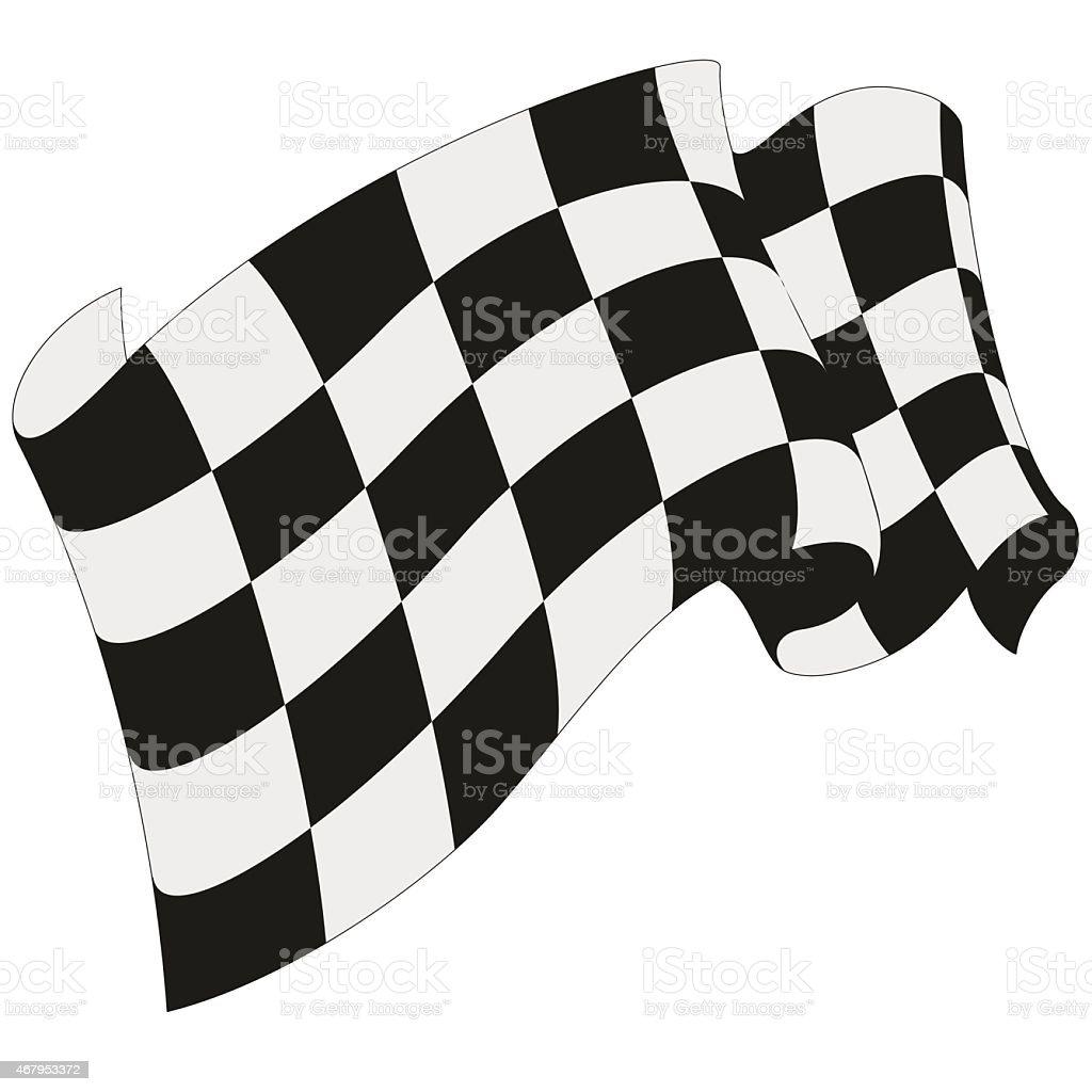 A checkered racing flag waving vector art illustration