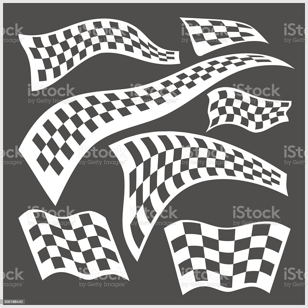 Checkered Racing Flags - vector set vector art illustration