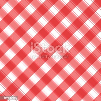 istock Checkered red and white check pattern background,vector illustration,Gingham 1197580160