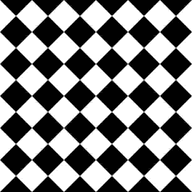 checkered seamless background pattern of squares in diagonal arrangement - checked pattern stock illustrations