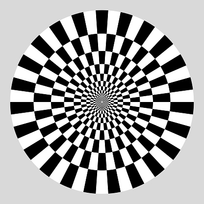 Checkered sectors on disk. In concentric circles around copy space. On gray.