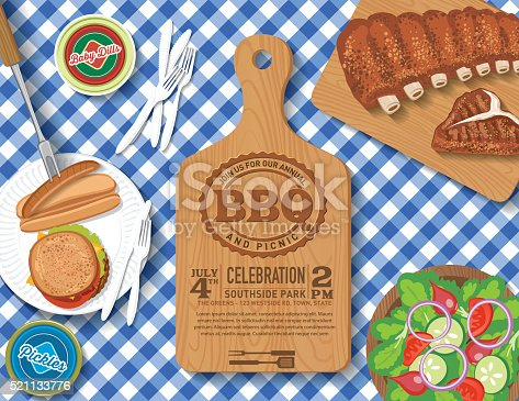 Invitation template. Aerial view of a picnic bbq meal on a checkered tablecloth. There are many foods ioncluding hotdogs and hamburgers, salad, ribs and much more. There are paper plates and plastic utensils. There is a plain cutting board with text about the event.