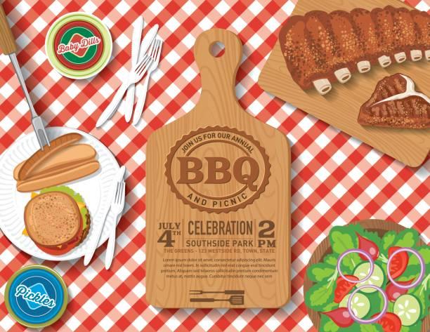 格子じまのテーブルクロス、ピクニック flatlay 招待状テンプレート - 親族会点のイラスト素材/クリップアート素材/マンガ素材/アイコン素材