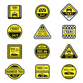 Checkered taxi signs flat vector icons set. City cab service symbols bundle isolated on white. Urban transportation company logotypes collection. Public auto transport design element pack